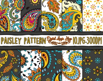 Paisley Seamless pattern, Paisley Digital Paper, Hand Drawn  - 10pcs 300dpi (paper crafts, card making, scrapbooking) Commercial use
