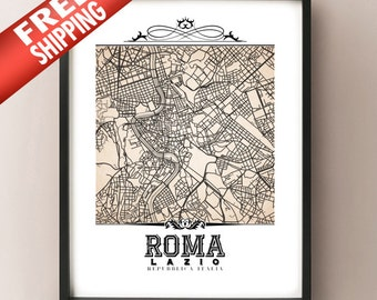 Roma Vintage Style Sepia Map Art Print - Rome, Italy City Map Decor