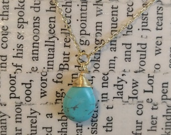 Turquoise Stone & Gold Necklace