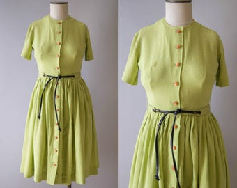 vintage 1950s dress / 50s linen chartreuse dress / small