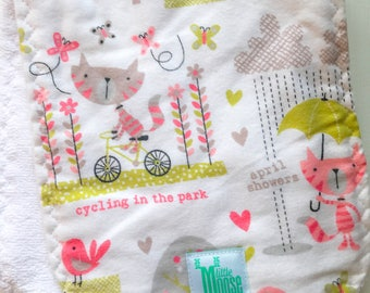 Burp Cloth - Kitty, Bicycle, Floral, Pink - Flannel and Terry Cloth - Thick and Absorbant
