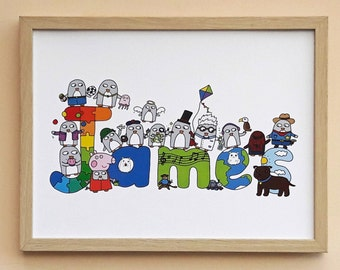 Personalised Name Print - Customised  Funny Penguin Gift - Christening - Baptism -Birthday - Quirky wall art - Children's room