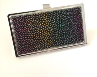 Exotic Genuine Stingray (Shagreen) Skin Business Card and Credit Card Case -- Iridescent Rainbow