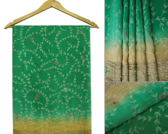 Free Shipping Vintage Indian Traditional Upcycled Saree Art Silk Hand-Beaded Green Antique Decor Craft Sari Fabric 5 Yard A15170