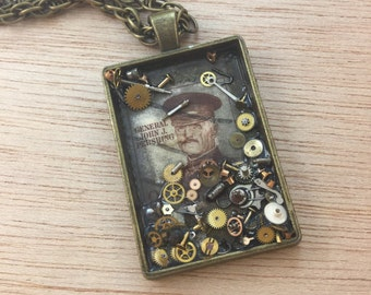 Vintage General John J. Pershing Stamp & Gear Necklace FREE Gift Box FREE Shipping Code Apocalyptic Steampunk Gypsy Boho Jewelry Great Gift