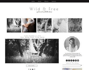 Blogger Template - Fashion Blog Template - Blogger Template Responsive Design - Black And White Blog Template