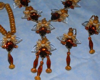 Vintage Signed STANLEY HAGLER--FAWN--Brilliant Honey Topaz Swarovski Crystals, Glass Leaves/Seed Beads Full Parure