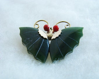 Vintage Carved Jade and Coral Butterfly Brooch Jade Coral Butterfly Pendant  Mothers Day Gift