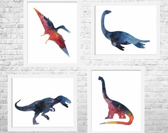 Dinosaur Art Print, Nursery Dinosaur, Colorful Kids Art, Dinosaur Art, Dino illustration, Kids Room Wall, Set of 4 Prints