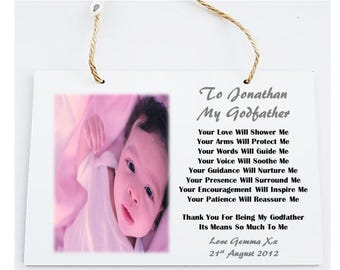 Godparent Personalised Photo Poem Plaque