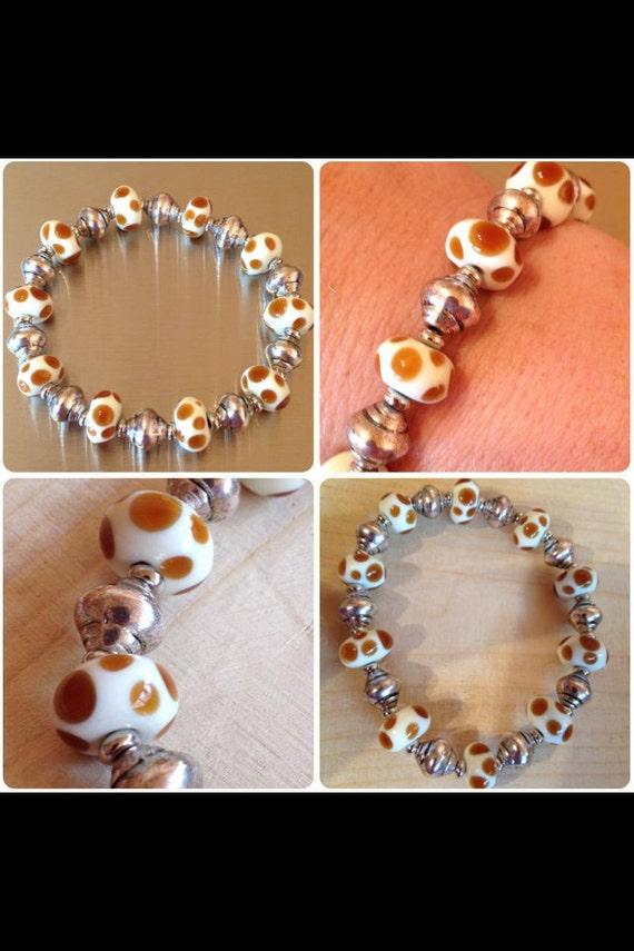 Safari lampwork murano glass bracelet animal print giraffe - Safari murano jewelry ...