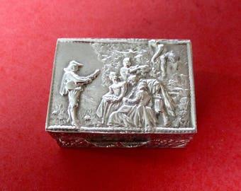 Vintage Silver Small Hinged Pill Box
