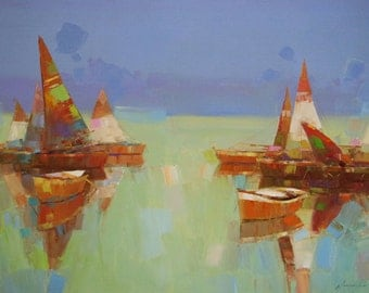 Sail Boats, Seascape, Contemporary art, large size painting by Palette knife, One of a kind