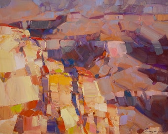 Grand Canyon, Landscape Original oil Painting on Canvas Handmade painting by Palette Knife, 16 x 20 in, One of a kind