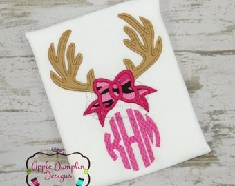 Personalized Deer Antlers Monogram and Camo Applique Shirt or Onesie Girl or Boy
