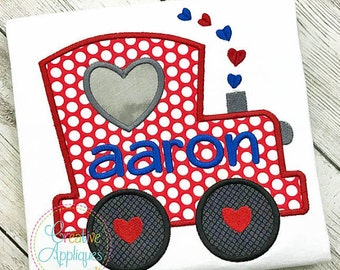 Personalized Valentine's Train with Heart Applique Shirt or Onesie Girl or Boy