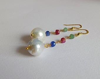 Pendant,drop,dangle linear,long gold filled earrings large baroque Pearl Earrings,ruby,sapphire,Emerald roundels,drop gemstone pearl  rosary