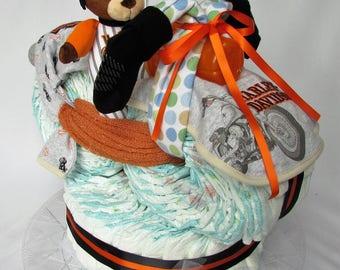 Orange/black Harley Davidson Motorcycle Diaper cake