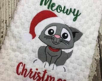 Meowy Christmas - Kitten - Cat - Rescue - Christmas - Towel Design - 2 Sizes Included - Embroidery Design -   DIGITAL Embroidery DESIGN