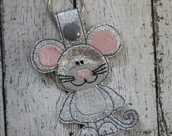 Mouse - In The Hoop - Snap/Rivet Key Fob - DIGITAL EMBROIDERY Design