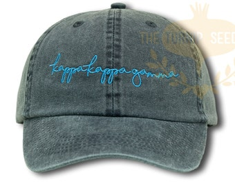 Kappa Kappa Gamma Handwriting Script Sorority Baseball Cap - Custom Color Hat and Embroidery