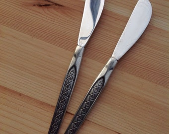 Vintage butter knives, pewter-handles Norway