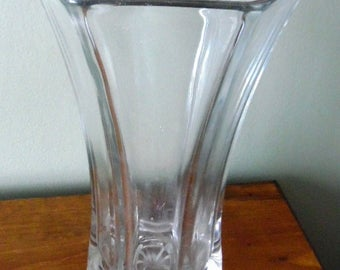 Large and heavy glass vase, marked Hoosier Glass.  Excellent condition