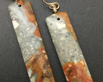 Owyhee Jasper Earrings, Gemstone Earrings, Stone Slice Earrings, Stone Slab Earrings, Gold Earrings, Earrings under 50