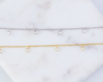 Round CZ Chain by Foot, Bulk Chain By Foot, CZ Round Shaker Chains, Tiny CZ Chains, Ideal for Choker Chain and Long Necklace,SCNF139