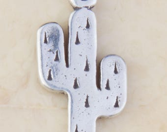 Sterling Silver Thick Cactus Charm, Cactus Pendant, Silver Charms, Desert Charms, Silver Cactus, Jewelry Supplies, Charm Findings, HCIN217
