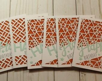 6 Happy Birthday Greeting Cards / Blank Inside Greeting Cards / Greeting Card Set / Greeting Card Pack