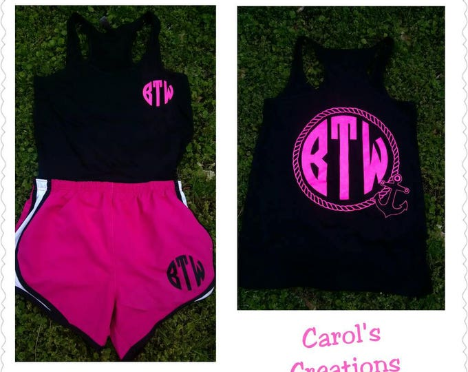 Featured listing image: Anchor and Rope Vinyl Monogrammed Tank Top/  Matching Monogrammed Short Set/ Running Set/ Cheerleading Set/ Workout set
