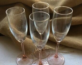 Vintage Pink Champagne Flutes