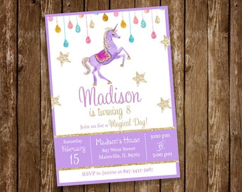 Unicorn Birthday Party Invitation - Printable or Printed with FREE SHIPPING