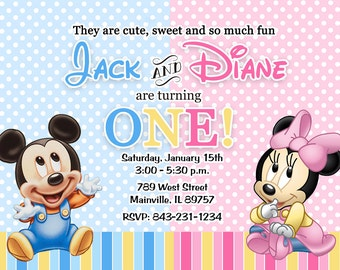 Mickey, Minnie, Twins, Cousins, Sibling, One Year, Baby, Birthday Party Invitation - Printable or Printed with FREE SHIPPING