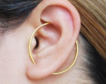 Modern Gold Earring, Gold Ear Cuff, Ear Cuffs, Geometric Earring, Hoop Earring, Gold Hoop Earrings, Circle Earring, Unusual Mothers Day Gift