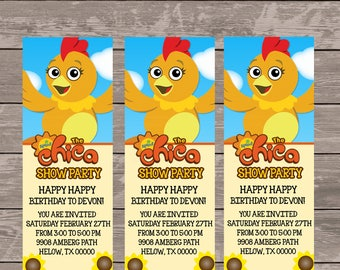 Chica show party invitations