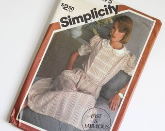 SIZE 10 12 14 6275 Simplicity Women's Dress UNCUT Sewing Pattern Vintage 1980s Eighties Double Breasted Short Puff Sleeves Elastic Waist