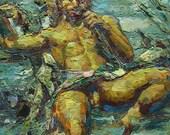 "24x28"" - Original Gay Male Nude Fine Art Painting by Royo Liu -060070.001"