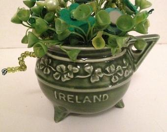 Vintage St Patrick Button Bokay/Shamrock Creamer-Holiday  Home Decor