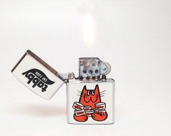 Tabby Cat Food Lighter - Working Vintage 1960s Old Japan Made Continental Advertising Kitty / Cat / Kitten / Kitty Japanese Flip Top Lighter