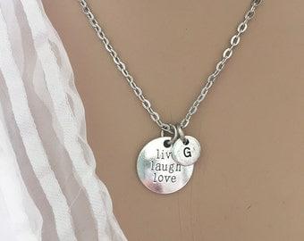 Live Laugh Love Necklace/ Live Laugh Love Initial Necklace/ Minimalist Love Necklace/ Inspiration Necklace/ Love Jewelry