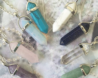 Crystal Pendant Necklaces/ Amethyst/ Rose Quartz/ Opalite/ White Howlite/ Lapis/ Clear Quartz Crystal/ Aventurine