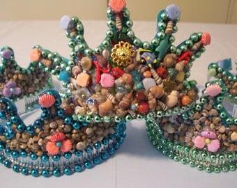 Set of 8 Mermaid Crowns; Mermaid, Party Favor, Mermaid Themed Birthday, Jeweled, Crown, Shells, Little Treasures, Ocean Party, Age 7 - Teen