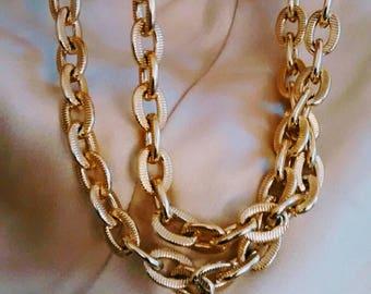 Vintage Textured Link Golden Necklace
