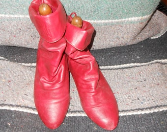 Vintage Red Leather Ankle Boots - Size 8 1/2
