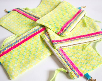 Celebration, Digitally Printed, Bright! Cotton Linen, Medium Zip pouch, Zipper Bag, Purse, Make Up Bag, Purse