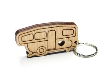 Pop-Up Camper Keychain - Pop Up Camper - Camping Trailer Keychain - Camper Van Wood Key Ring - Camper Travel Trailer Engraved Charm