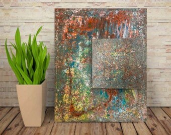 WITHIN. Abstract painting. Squares. Modern art. Textured contemporary art. Original. Handmade. Home decor.
