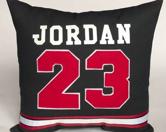 """Chicago Bulls Inspired Sports Pillow-16x16"""" Black - Personalize your pillow with the Name & Number of your choice"""